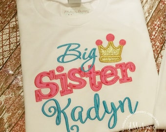 Big Sister - Big Sister - Embroidery gift - Baby gift - Customizable -  Sibling 82