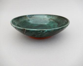 Pottery Bowl - Shallow Bowl - Hunter Green Ceramic Serving Bowl