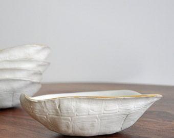 SALE Large Turtle Shell  -  Gold Rimmed White Turtle Shell Bowl Porcelain Sculpture Ceramic Bowl