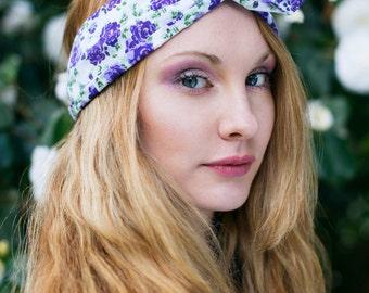 Purple Rose Wire Headband, Dolly Bow, Pin Up Rockabilly Hair Wrap, Bandana, Hair Scarf, Kawaii Usamini Headband, Purple Headband