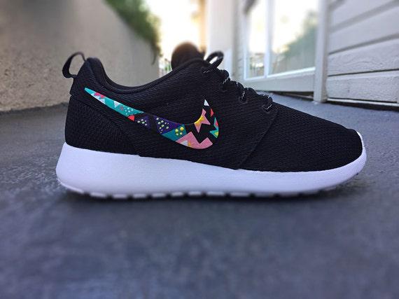 Nike Roshe Run custom design, triangle tribal design, pink, yellow, teal,  white, black, cute and trendy pattern