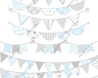Light Blue and Gray Bunting Clip Art Set - printable digital clipart - instant download