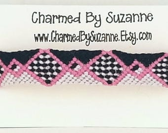 Adjustable Friendship Bracelet, monochromatic knotted bracelet, white, black, pink diamonds