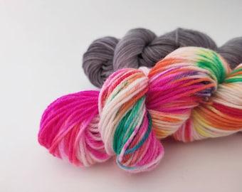 Superwash merino / nylon sock yarn set - Splishy Rainclouds - 2 x 50g skeins. Knitting, crochet, socks, shawls, hand dyed yarn