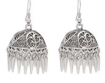 SMILING SILVER PLATED Jhumki Earrings for Women anniversary gift
