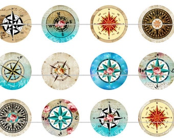 "Compass Magnets Pins, Compass Pins, Compass Magnets, Compass, 1"" Inch Flat Backs, Hollow Backs, Cabochons, 12 ct"