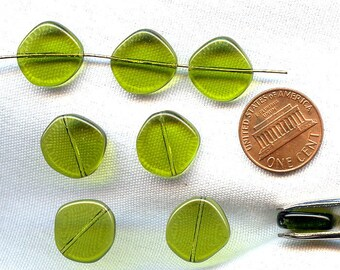 6 Vintage Glass Olive Green 14x4mm. Flat Round Smooth Disc Beads  2333