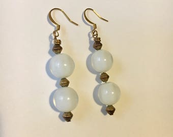 White and Brass Bead Earrings