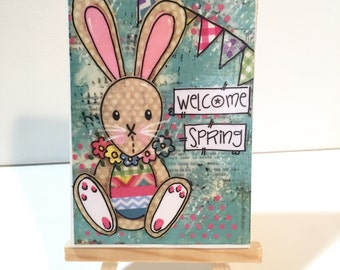 Easter Bunny Print, Print and Easel Set, Welcome Spring mounted print, Easter Decor, Spring Decoration