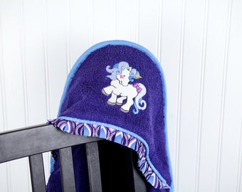 girls hooded towel unicorn applique bath beach pool towel many colors