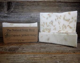 Goats Milk Oatmeal, Milk and Honey Soap 100% ORGANIC *Soothing Handmade 4.5 oz