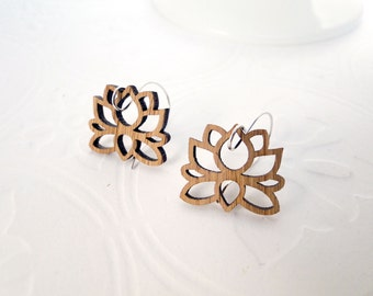 Lotus Earrings in Bamboo