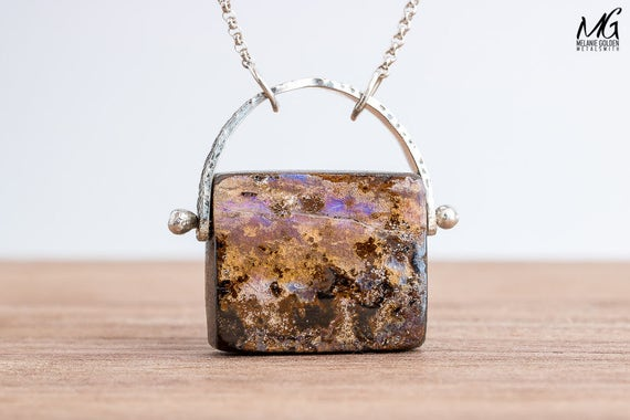 Natural Boulder Opal Necklace in Sterling Silver
