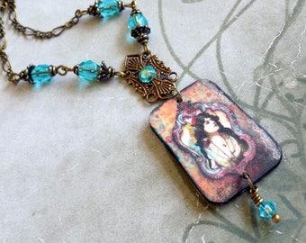 Vintage Gypsy Pendant Necklace, Gypsy Necklace, Shrink Plastic Necklace, Boho Necklace, Vintage Style Necklace, Art Nouveau necklace