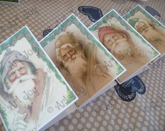 Christmas Cards Set, post cards, note cards, Christmas greetings, Christmas card, Santa, Santa Claus, printed cards, print, graphic,