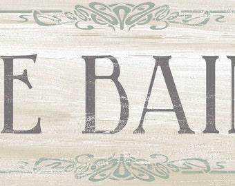 Le Bain Art Nouveau Style French Bath, Shabby Chic French Bath Sign, Country French Decor Sign, Cottage style bath