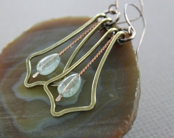 Swinging Art Deco chandelier mix metal earrings with aquamarine drop stones - Dangle earrings - Aquamarine earrings - Long earrings - ER028