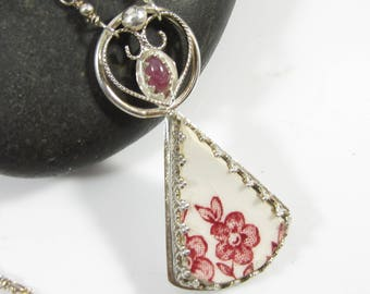 Pink Blossom Necklace - Vintage Pottery Shard with Sterling SIlver and Tourmaline in Filigree