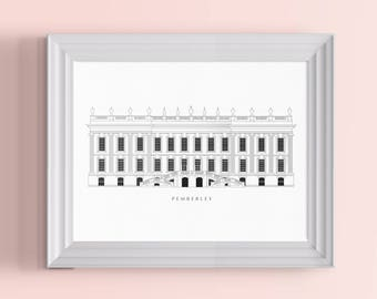 Pemberley Architectural Poster | A Jane Austen Print for Lovers of Pride and Prejudice and Mr Darcy