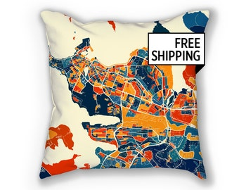 Reykjavik Map Pillow - Iceland Map Pillow 18x18
