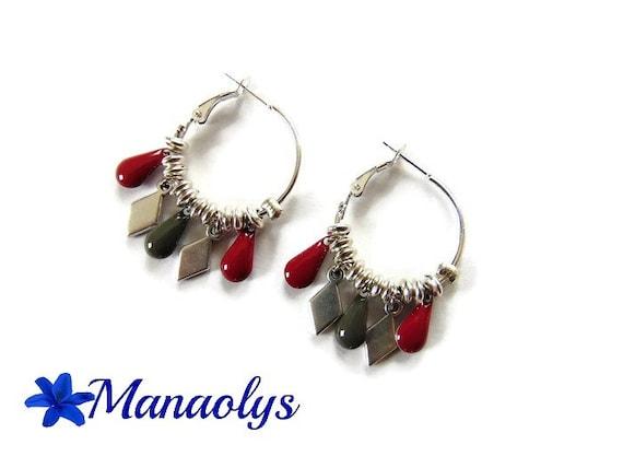 Hoop earrings, Bohemian earrings, drops, grey and Red enamel, colourful