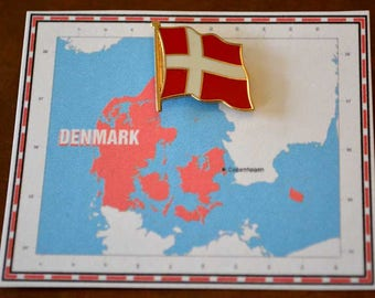 Denmark Flag Pin / Tie Tack / Lapel Pin / Country Flag Pin