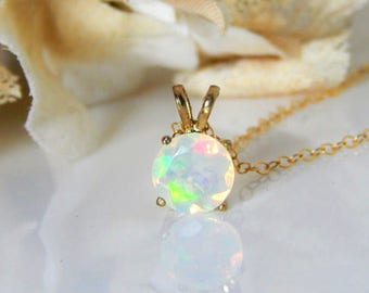 Ethiopian Opal Pendant • Genuine Opal Necklace Gold • Fire Opal • Large Round Faceted • October Birthstone • Girlfriend • Mothers Day Gift