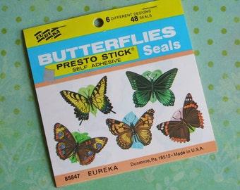 Vintage BUTTERFLIES Presto Stick Seals Full Book of 48 Eureka