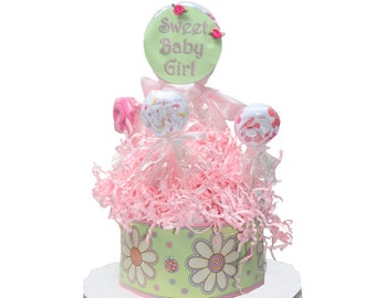 Sweet Baby Girl Diaper Cake with Blanket Lollipop - Pink and Green - Baby Girl Gift - Girl Baby Shower