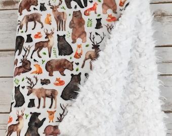 Minky Baby Blanket - Woodland Baby Blanket - Stroller Blanket - Fox Baby Blanket - Baby Blanket - Deer Baby Blanket - Bear Blanket