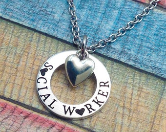 Social Worker Gift,  SW gift, Gift for social worker, Social Worker Necklace,  BSW, MSW, lsw, csw, graduation gift, Social Worker Jewelry