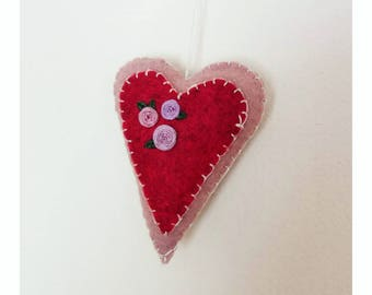 Heart decoration/present topper- Hand embroidered
