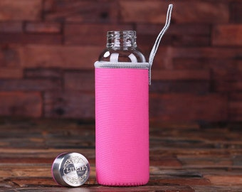 Personalized Engraved Glass Water Bottle, Thermos Bridesmaid, Women, Jogger, Biker, Athlete Christmas, Birthday Gift  (025252)
