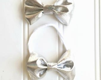 Silver Shimmer (small) Bow on headband or clip