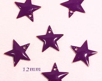 6 sequins star enamel brass 12mm purple