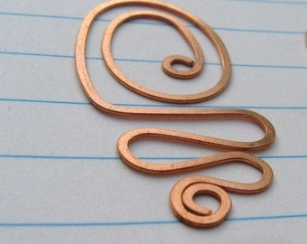 Bookmark- copper wire Heart or Doodle, set of FOUR teacher gift