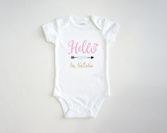 Personalized Baby Onesie ~ Customized Baby Onesie ~ Hello World Onesie ~ Baby Girl Onesie ~ Baby Romper ~ Bodysuit ~  Personalized Baby Gift