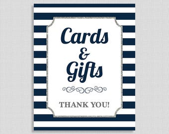 Cards and Gifts Sign, Navy & White Stripe Baby Shower Sign, Silver Glitter,  INSTANT PRINTABLE