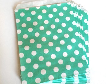 paper bags - treat bag - wedding favor bags - flat paper bag - gift bags - kraft paper bags - polka dot bags - set of 12 bags - teal