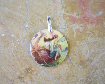 Mermaid pendant.  Warwick Goble, Upcycled glass, Handcrafted from fiberglass disc