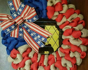 American Flag, Fourth of July Wreath, 4th of July, Patrioric, Burlap Flag Wreath, American Flag Wreath, 4th of July Wreath, Military, Gift
