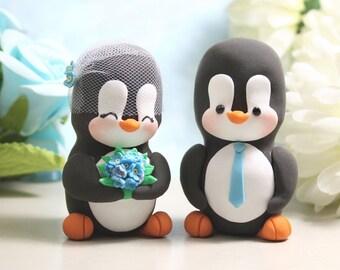 Unique Penguin wedding cake toppers - love birds personalized black white blue elegant cute bride groom figurines wedding gift anniversary