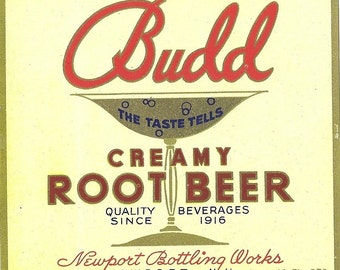 Budd Creamy Root Beer Vintage Soda Label, 1930s