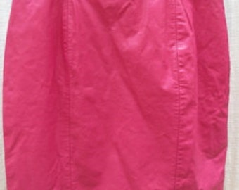 VINTAGE Pink LEATHER  mini skirt  by CHIA     25 W 18 L