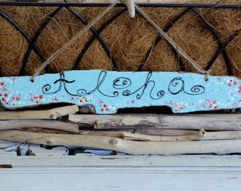 Aloha Hello Driftwood Sign ,Aloha Hawaiian Theme Sign , Home Decorating ,Surf Shop Island