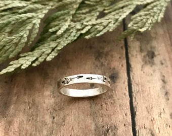 Boho Arrow Stacking Ring, Hand Stamped, Sterling Silver, Boho Arrow Stackable Ring