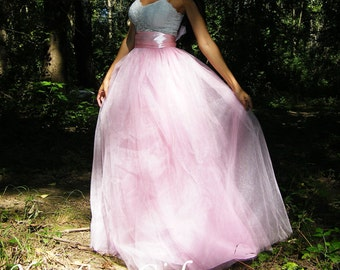 Blush pink Long Tulle Skirt Floor length Tutu Skirt Wedding Skirt