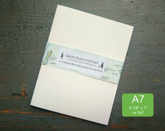 """25 A7 or 5x7 Folded Cards, Blank Folded Cards, 100% Recycled Greeting or Photo Cards, 5 1/8 x 7"""" or 5 x 7"""", 80-100lb, white, natural white"""