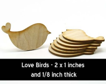 Unfinished Wood Love Bird - 2 inch wide by 1 inch tall and 1/8 inch thick wooden shape (BIRD03)