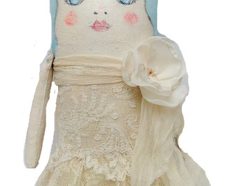 Handpainted Art Doll - Painted Cloth Doll - Brides Doll Gift - Bridesmaid Gift - Gift for Her - Collectors Doll Gift